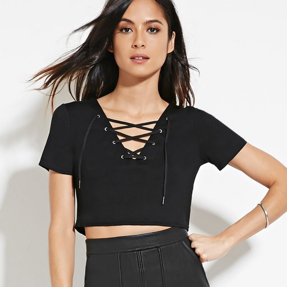 37f6242501cbac NWT Forever21 Lace Up Crop Top